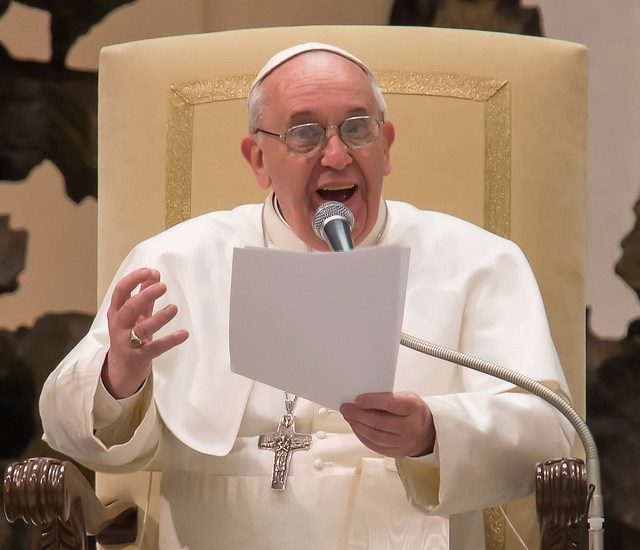 Pope Francis at an audience in March, 2013. (Photo credit: George Martell/The Pilot Media Group) Used under a Creative Commons license, Share-Alike, Attribution.