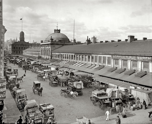 "Boston, Massachusetts, circa 1904. ""Quincy Market and Faneuil Hall."" 8x10 inch dry plate glass negative, Detroit Publishing Company. Shorpy.com"