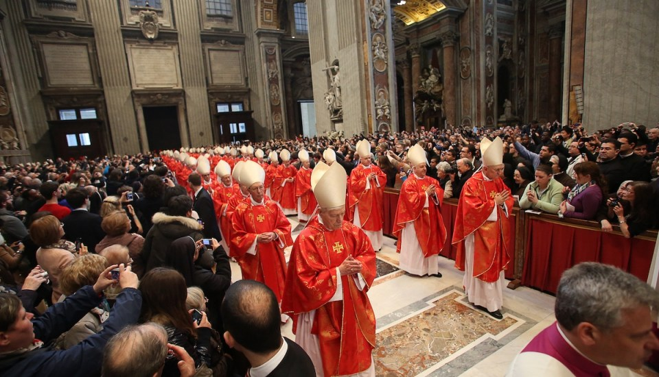 2013 Conclave cardinals walking into St. Peter's