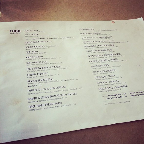 Great to see so much local produce featured on the menu.