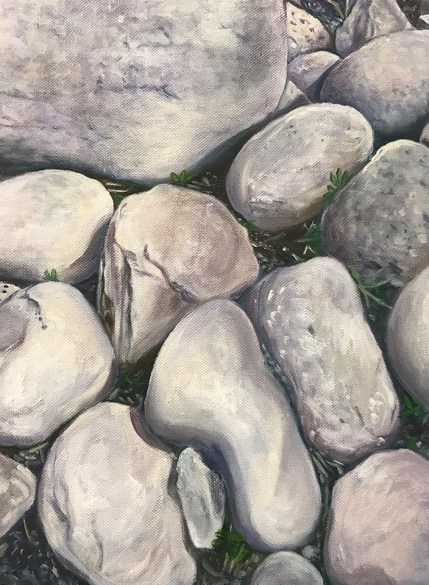 """Icelandic Rocks,"" Oil on Canvas 14""x18"""