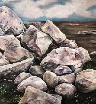 """Volcanic Icelandic Rocks,"" Oil on Canvas, 18""x18"""