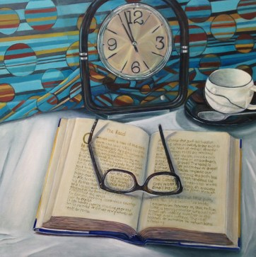 """""""Happy Reading,"""" Oil on Canvas, 16""""x16"""""""