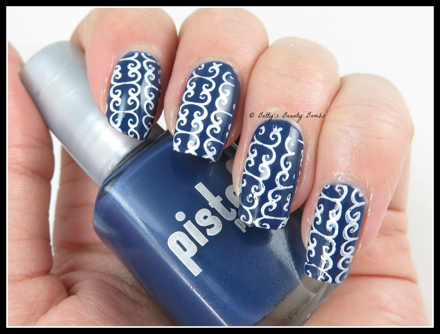 Blue and White Nail Art - Lazy Betty