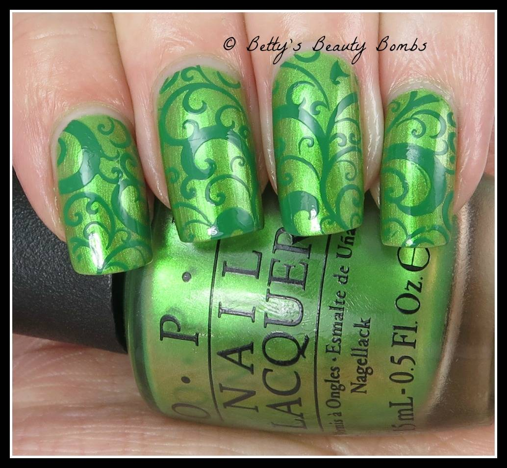 Two Tone Green Stamping Nail Art - Lazy Betty
