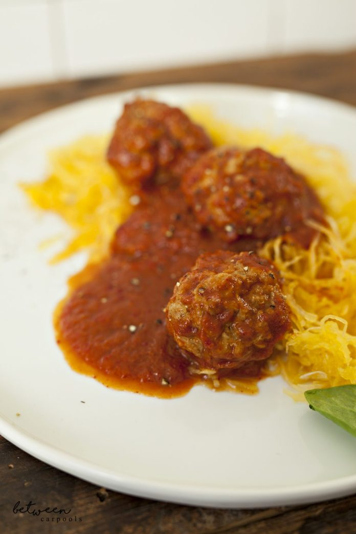 My Guilt-Free Spaghetti (Squash) and Meatballs. Kosher Recipes for the busy Jewish woman only on betweencarpools.com. A lifestyle blog for the frum woman. Diet Spaghetti Squash by Renee Muller.