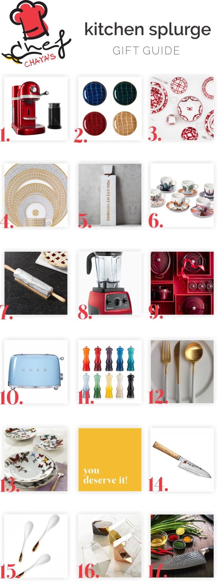 ChefChaya's Luxury Chanukah Gift Guide. See my Kitchen Splurge gift guide on Between Carpools - A Lifestyle blog for the busy Jewish Woman. .