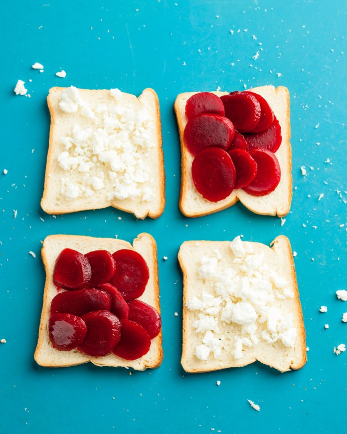 Cooking in a Hotel Room? 9 Ways to Use Your Sandwich Maker - Kosher Beets and Feta Toast using a Sandwich Maker
