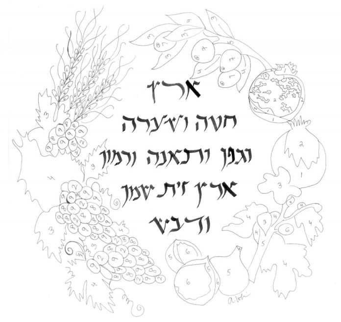 7 fruits for tu bshvat coloring pages | Free Download! Everyone's an Artist with Tu B'Shvat Paint ...