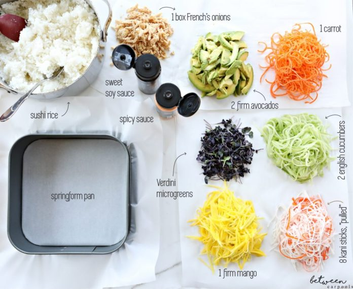 kosher sushi salad ingredients and recipe on between carpools.