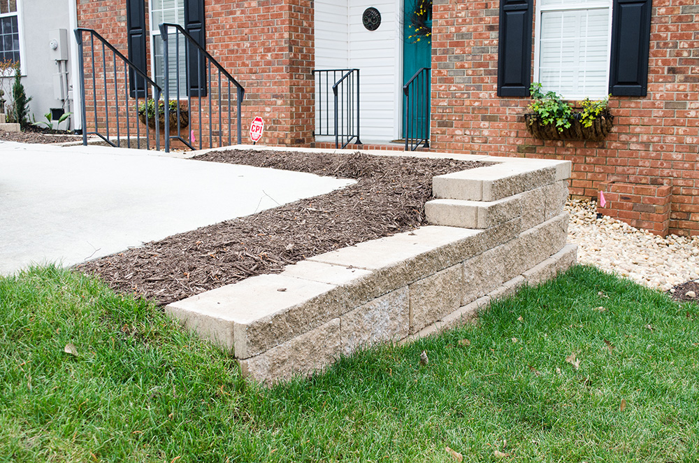 residential paver patio and retaining