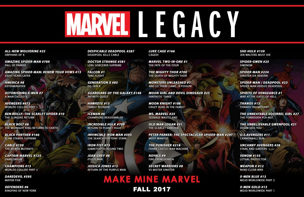Marvel Legacy Comics Books List. To say ALL these comics aren't apart of an Event is STUPID. This is a bloody EVENT. Look at these comics they expect fandom to BUY!
