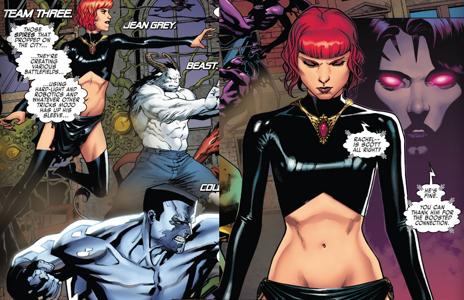 "TEENAGE Jean Grey dressed as the Evil Madelyne ""Maddie"" Jennifer Pryor-Summers aka the Goblin Queen revealing WAY TOO MUCH!"