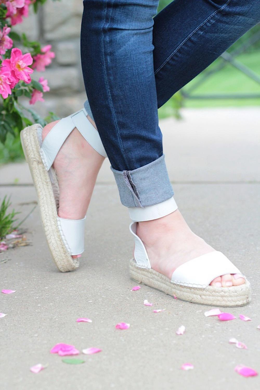 white vince sandals
