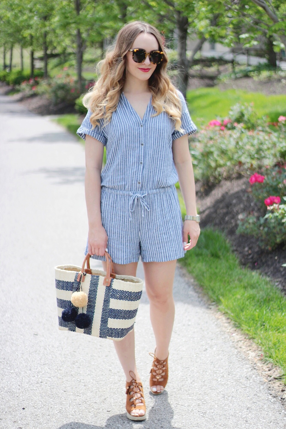 denim romper fashion blogger