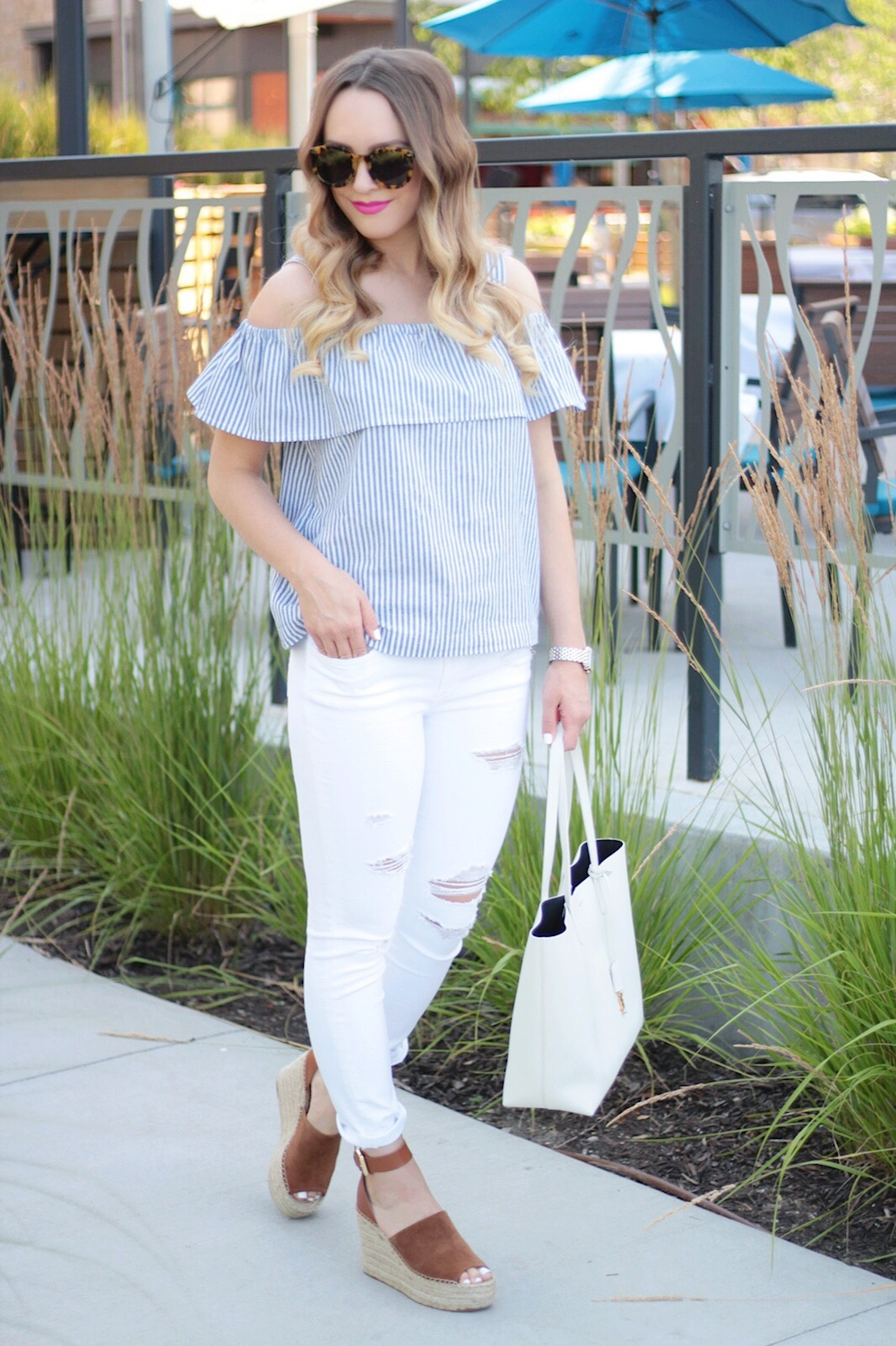 ruffle off-the-shoulder top