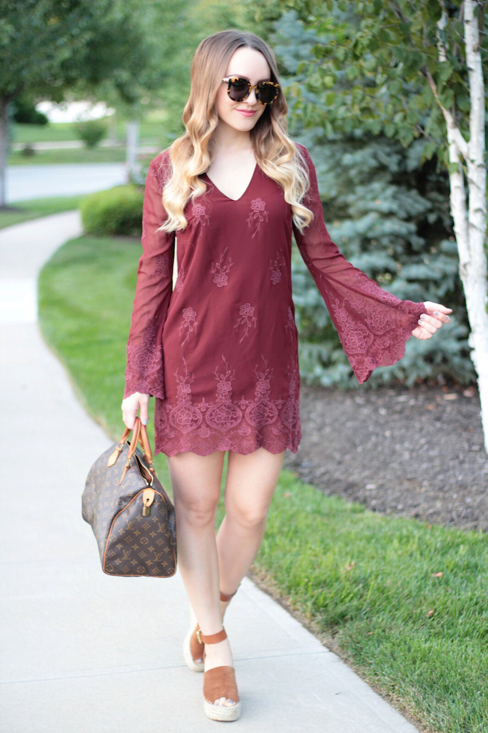 embroidered bell sleeve dress rachel puccetti