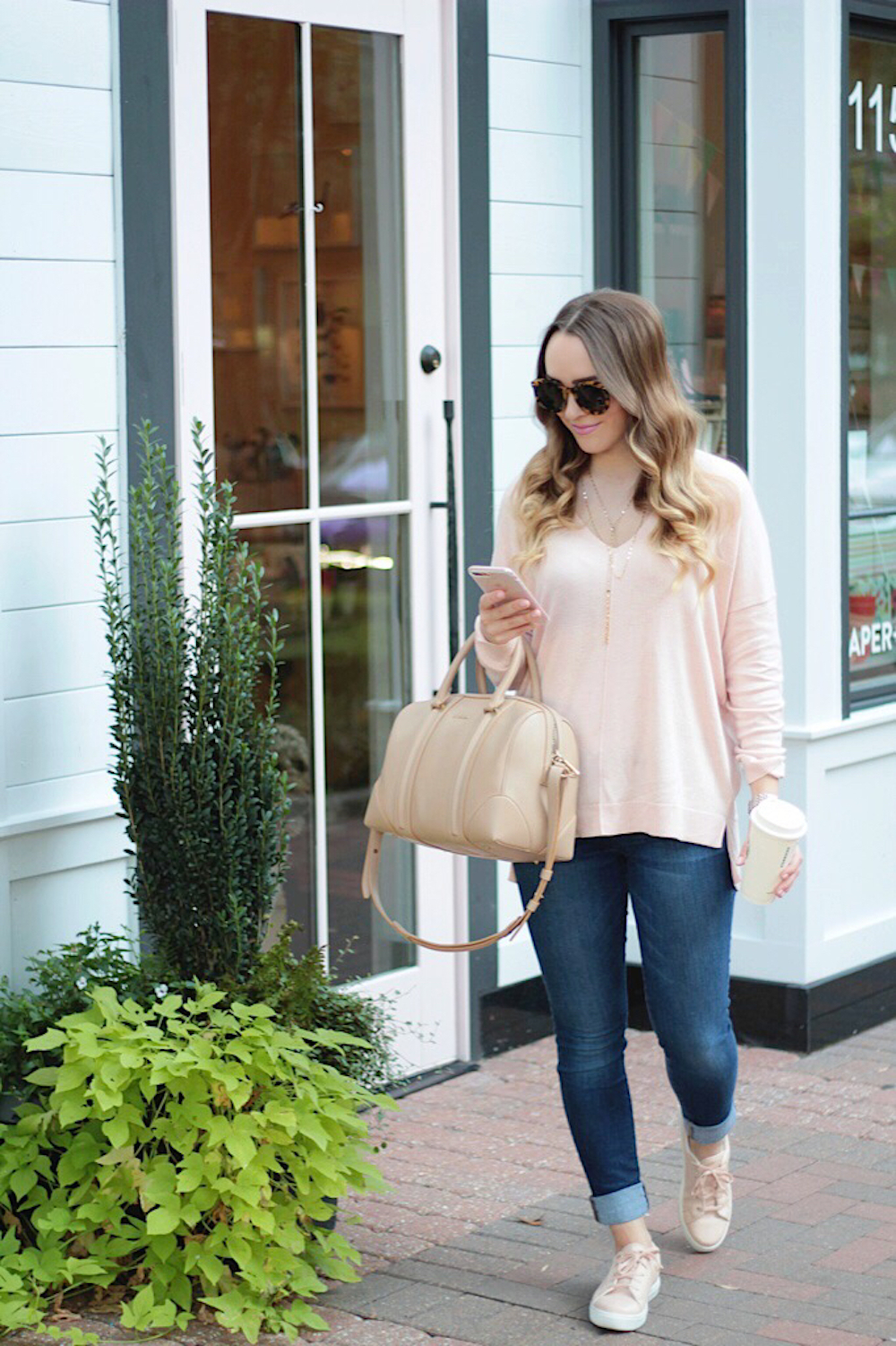 fall style pink sweater rachel puccetti