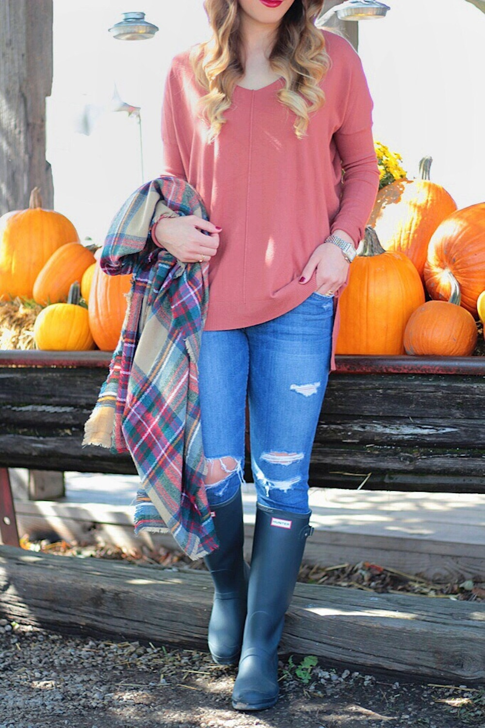 fall style plaid scarf cozy sweater