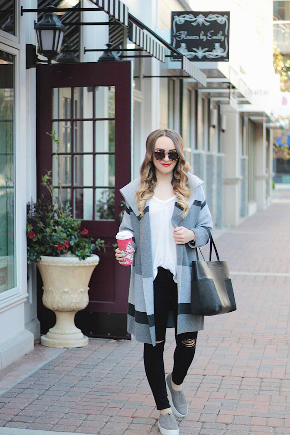 grey sweater and sneakers rachel puccetti