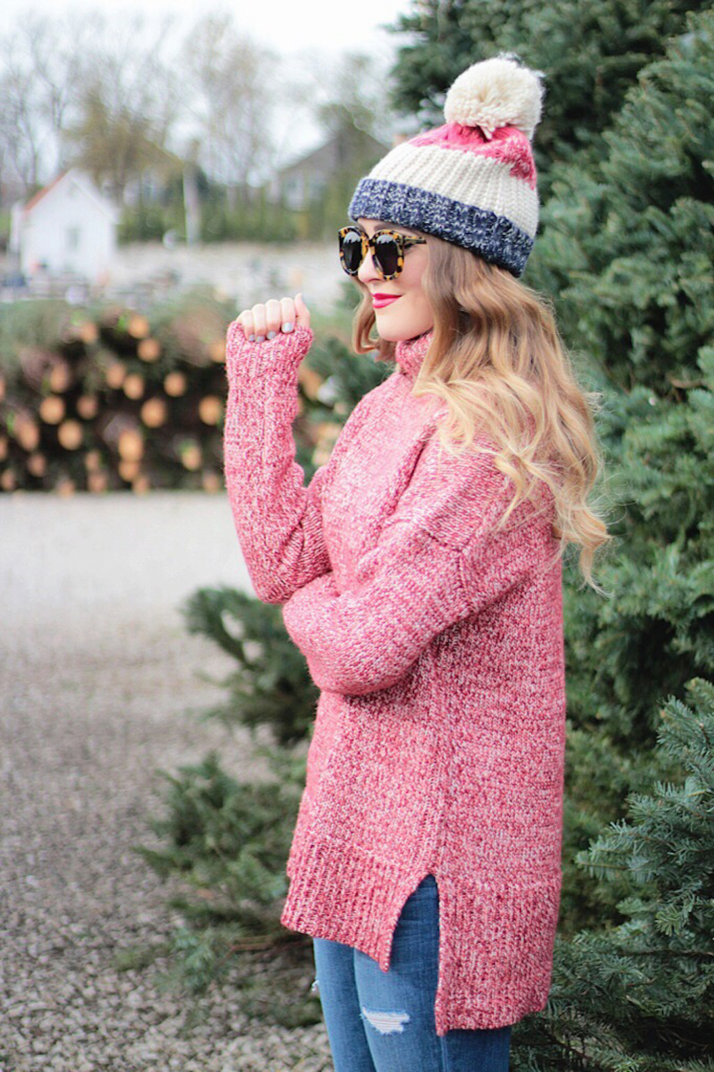 sweater and pom pom beanie rachel puccetti