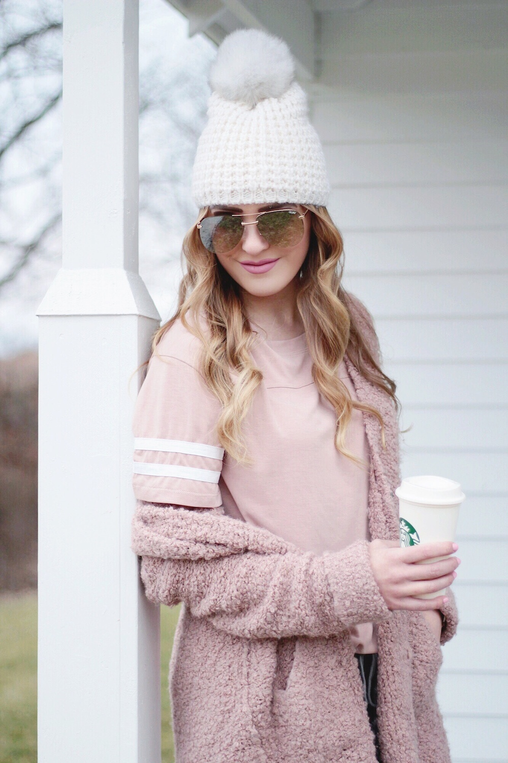 blush pink varsity tee rachel puccetti between two coasts