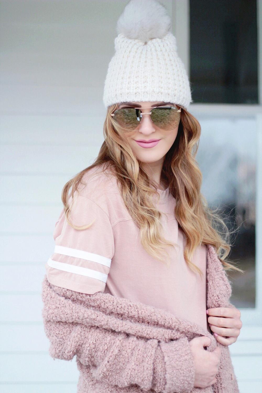 nordstrom blush pink varsity tee rachel puccetti