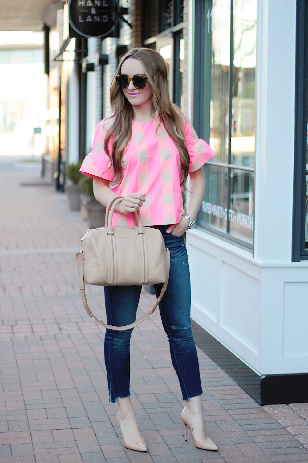 pink gingham ruffle sleeve top rachel puccetti between two coasts