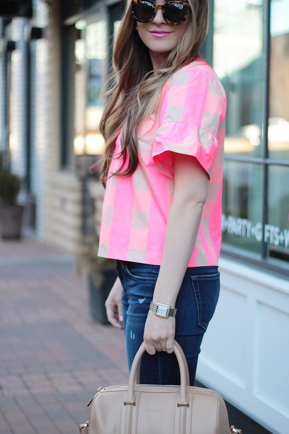 pink ruffle sleeve top rachel puccetti between two coasts