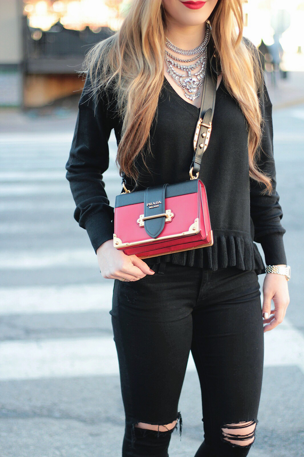 red prada cagier bag street style rachel puccetti between two coasts