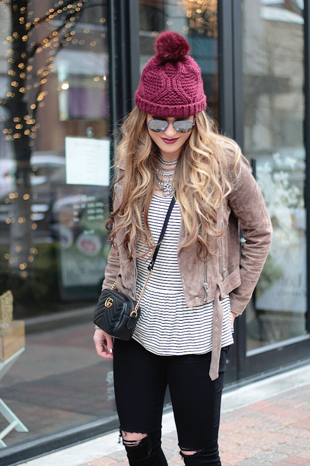 suede moto jacket fashion blogger rachel puccetti