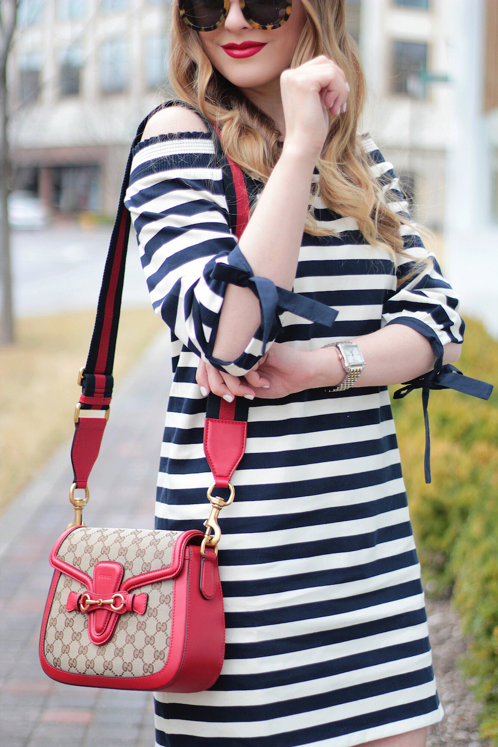 navy and white off the shoulder dress rachel puccetti between two coasts
