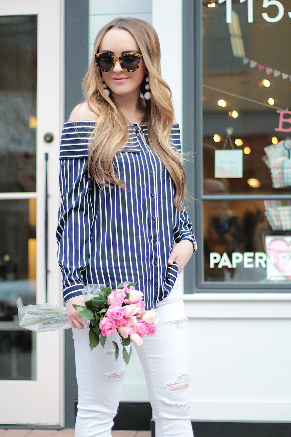 navy striped off the shoulder top rachel puccetti between two coasts