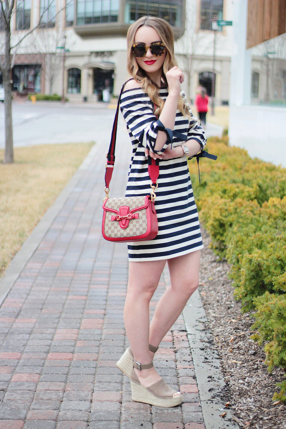 striped off the shoulder dress rachel puccetti between two coasts