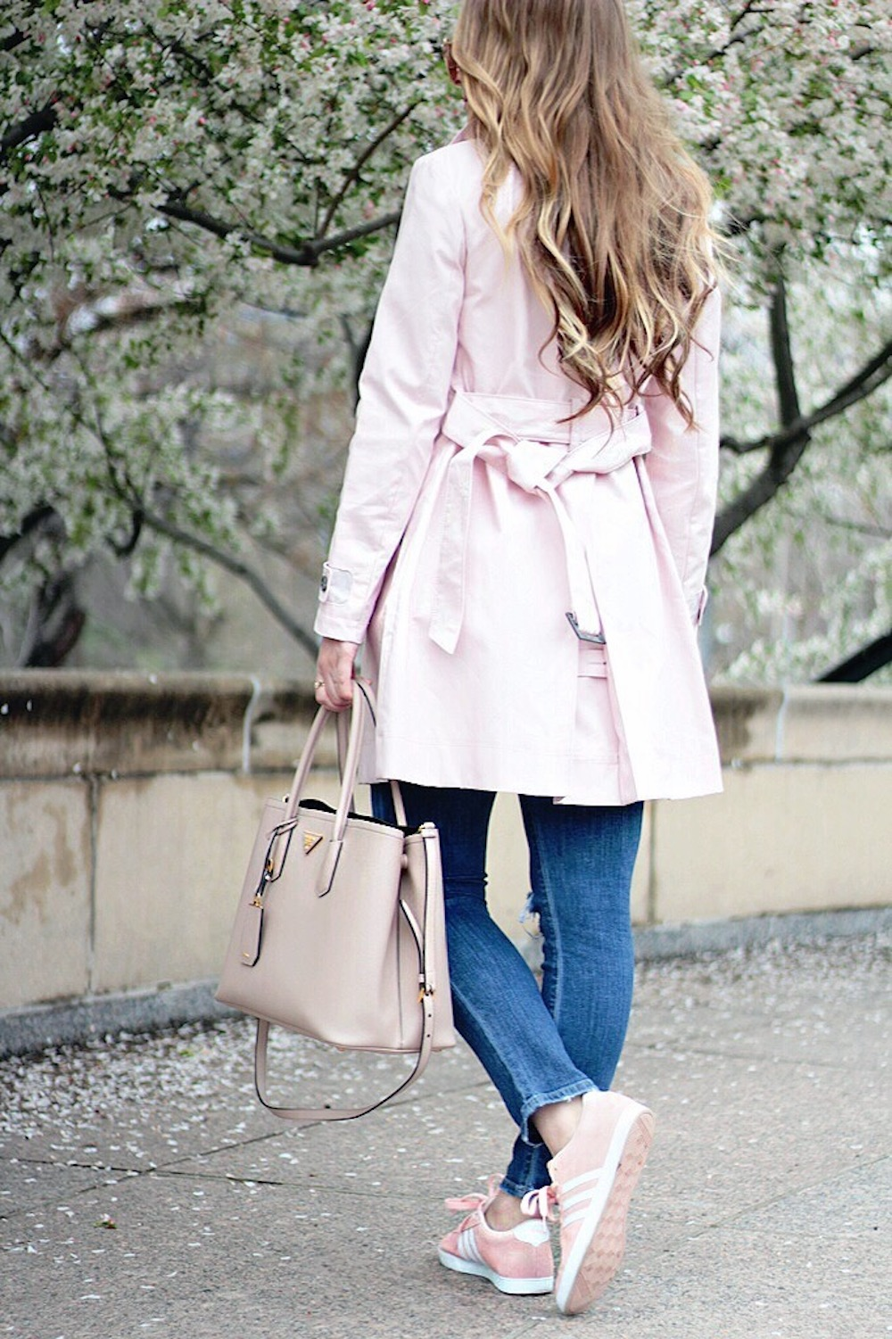 pink trench coat rachel puccetti between two coasts