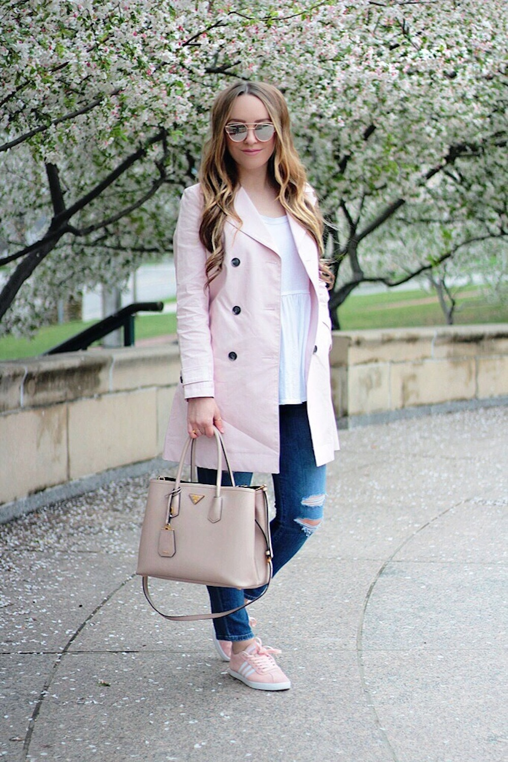 spring fashion pink trench coat rachel puccetti between two coasts