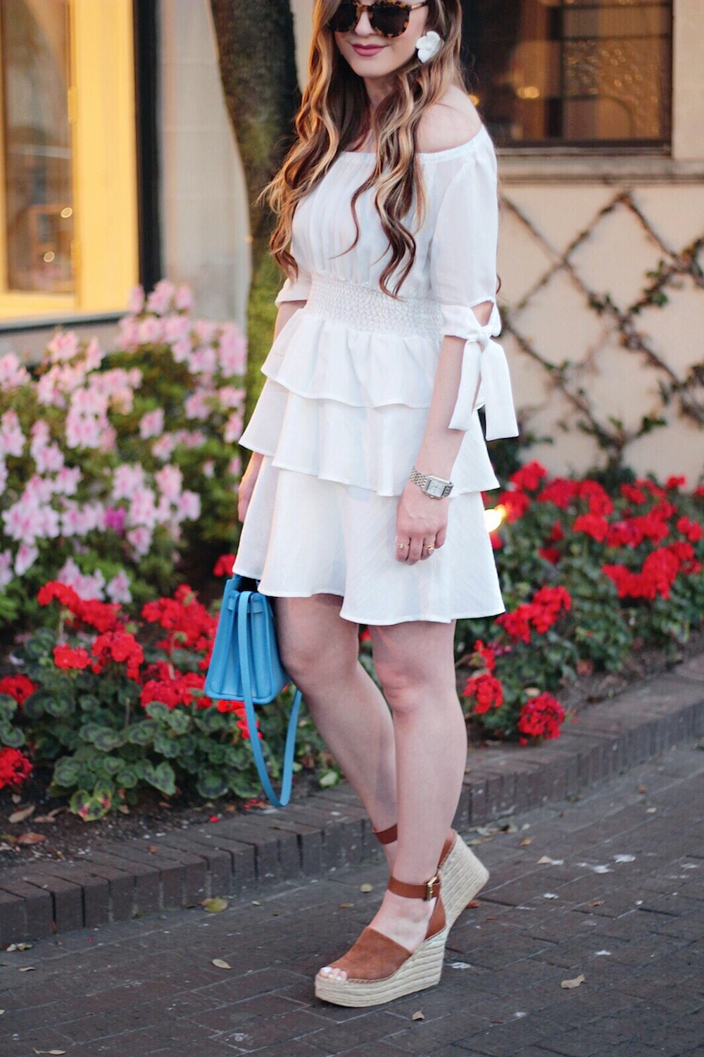 spring style white ruffle dress rachel puccetti between two coasts