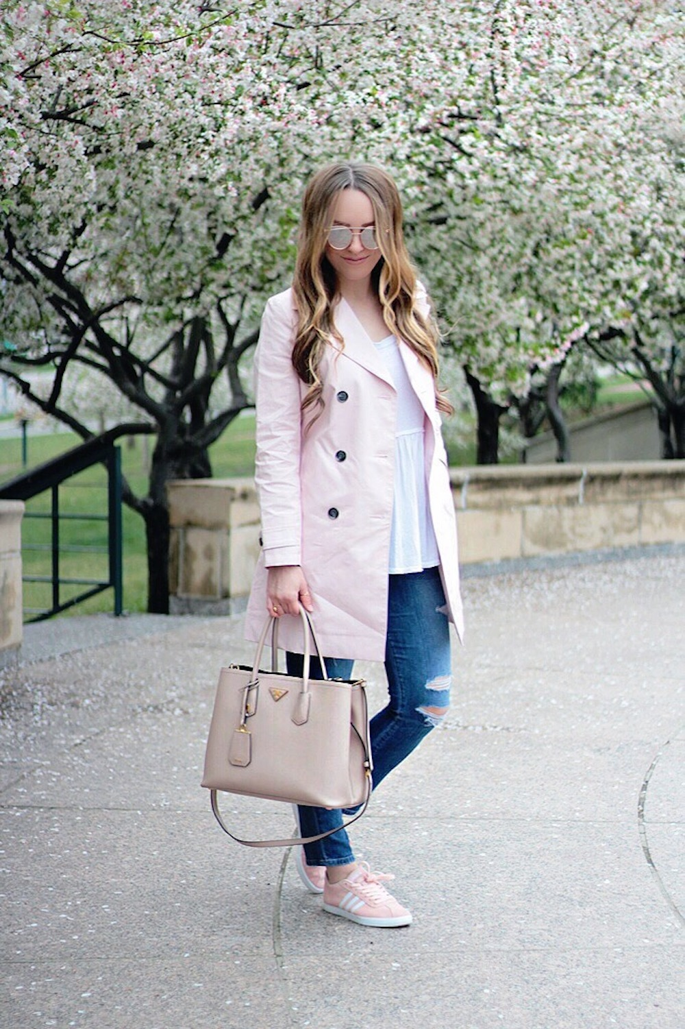 springtime pink trench coat rachel puccetti between two coasts