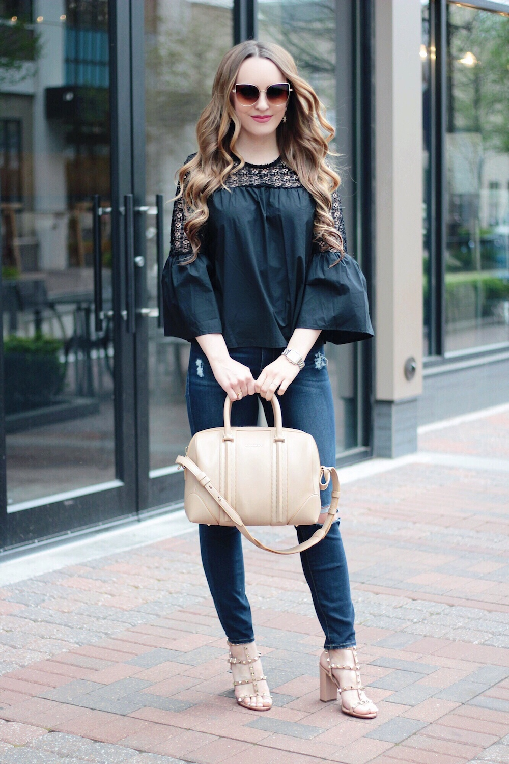 black lace bell sleeve style blogger rachel puccetti between two coasts