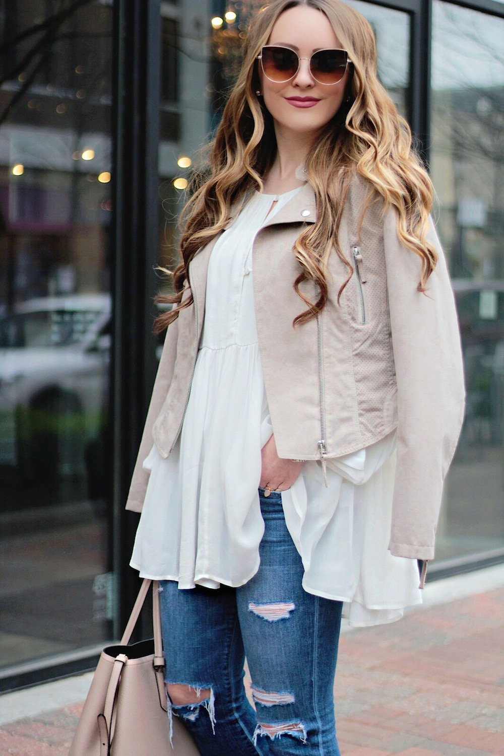 styling your moto jacket for spring rachel puccetti