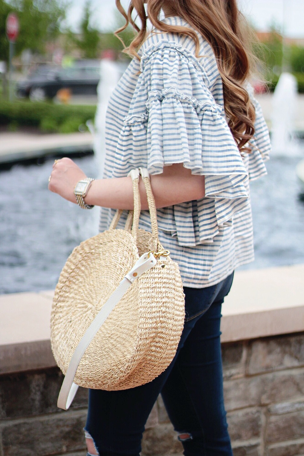 blue and white striped top rachel puccetti between two coasts