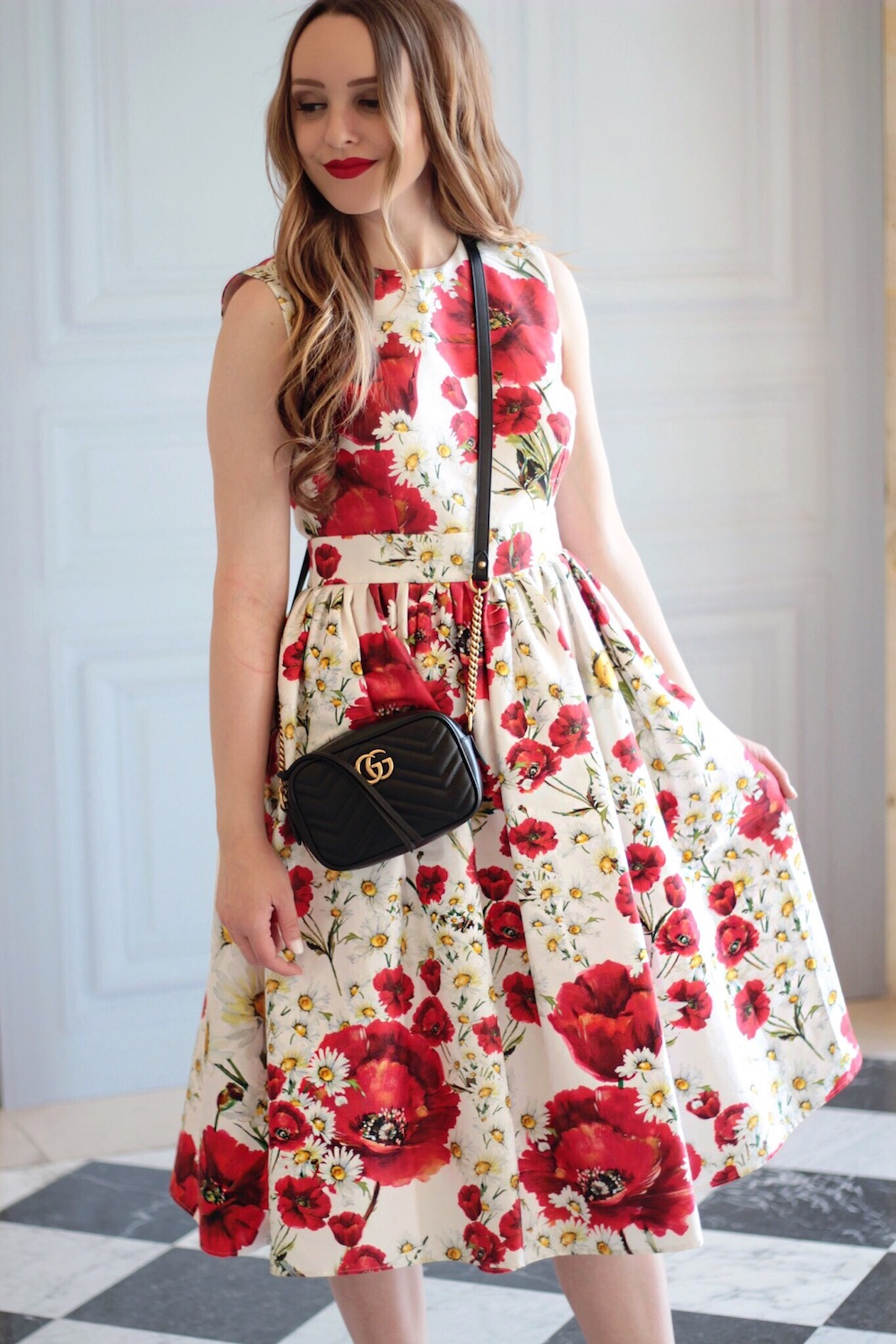 dolce and gabbana poppy dress rachel puccetti between two coasts