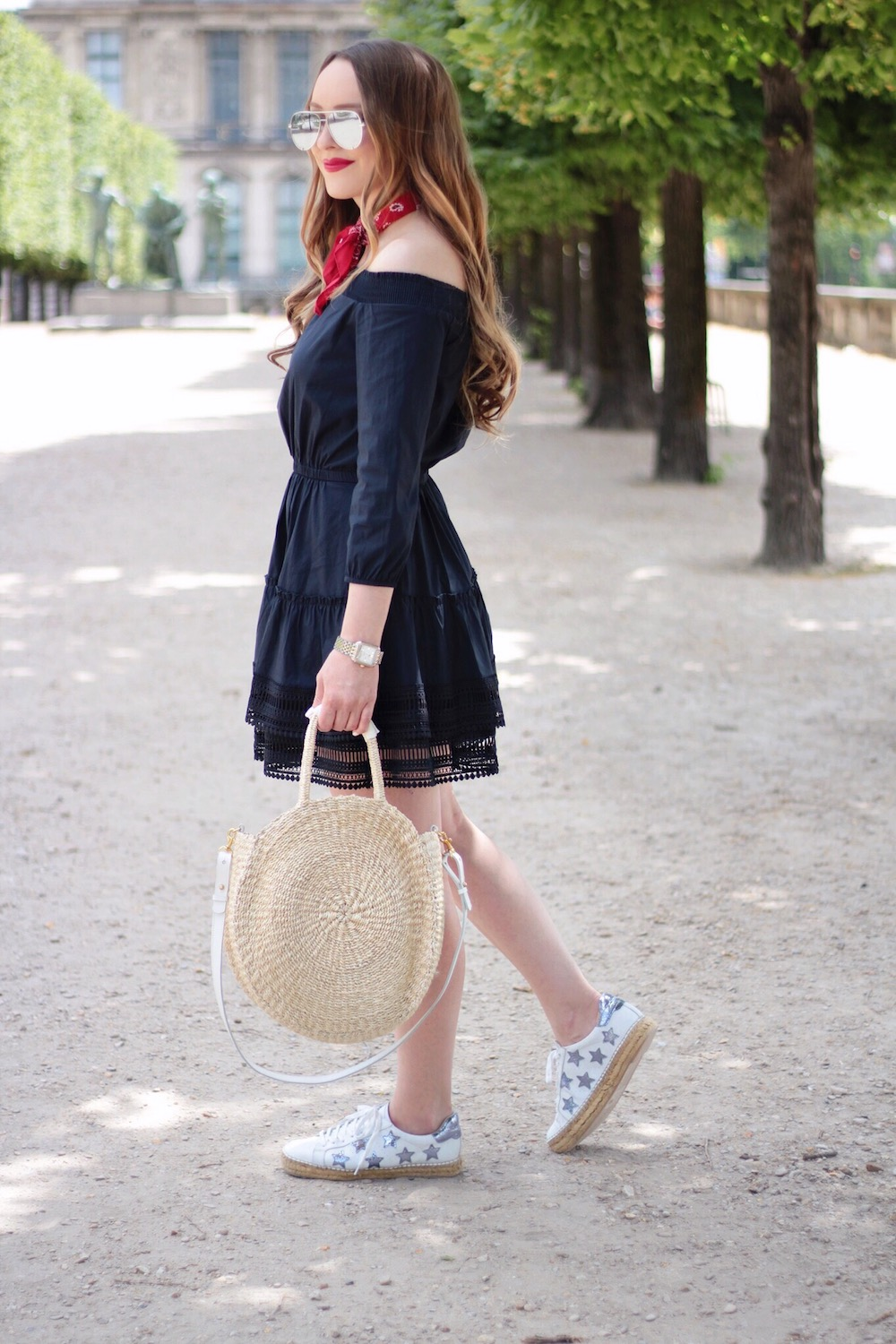 navy off the shoulder dress rachel puccetti between two coasts
