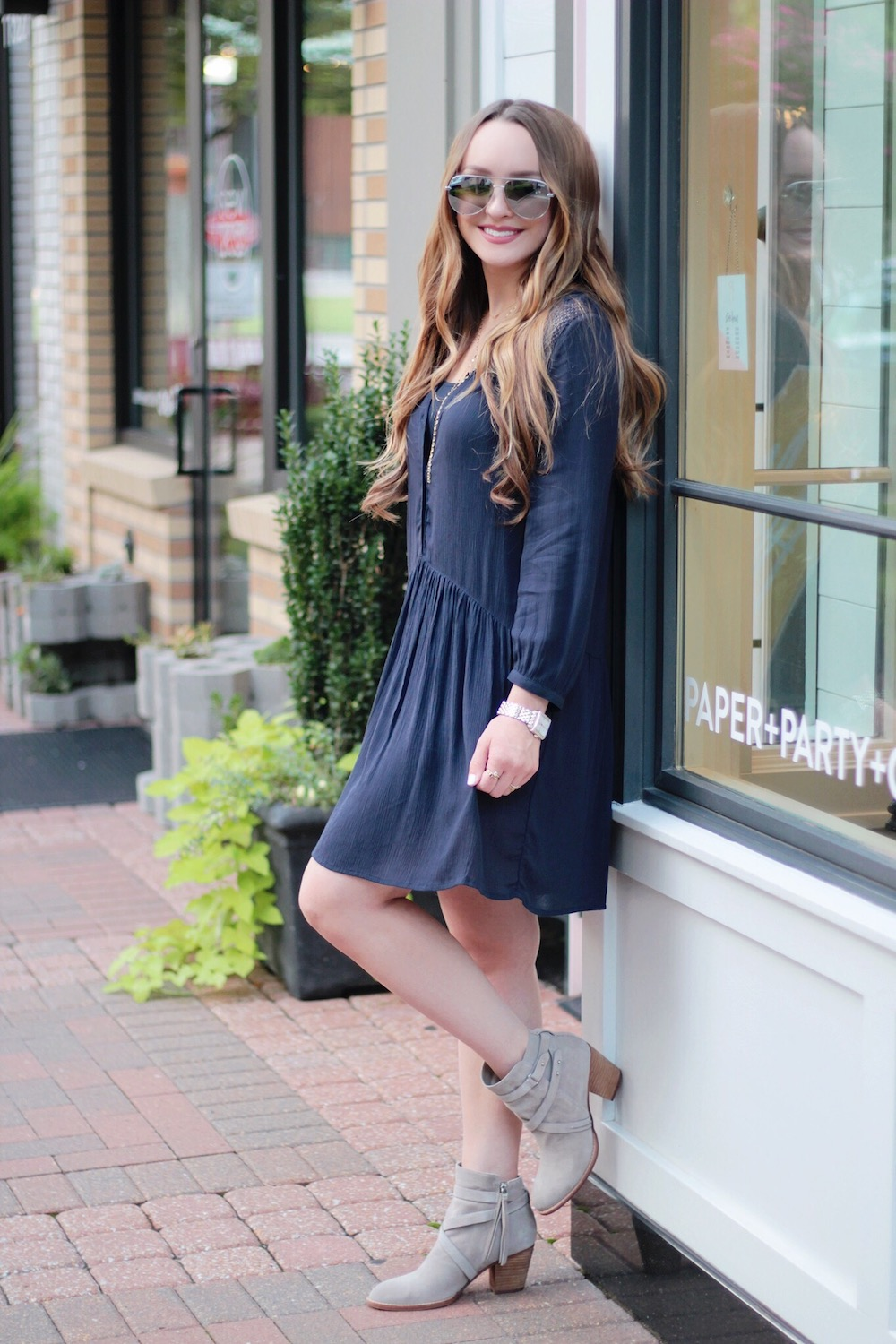 dress and booties fall outfit inspo rachel puccetti