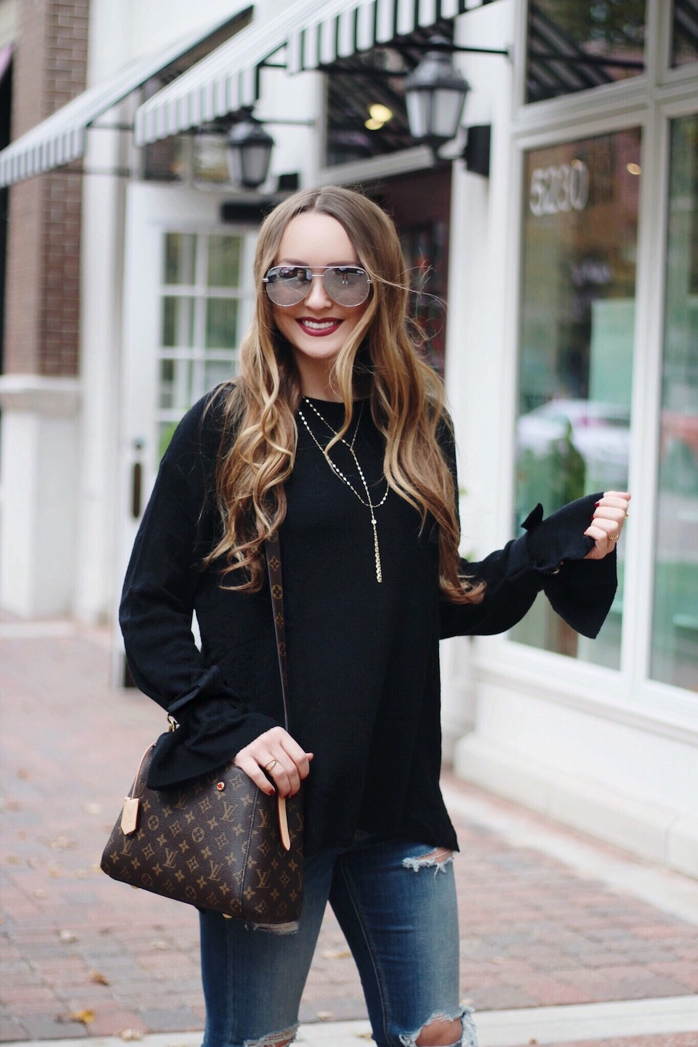 tie sleeve sweater fall outfits rachel puccetti