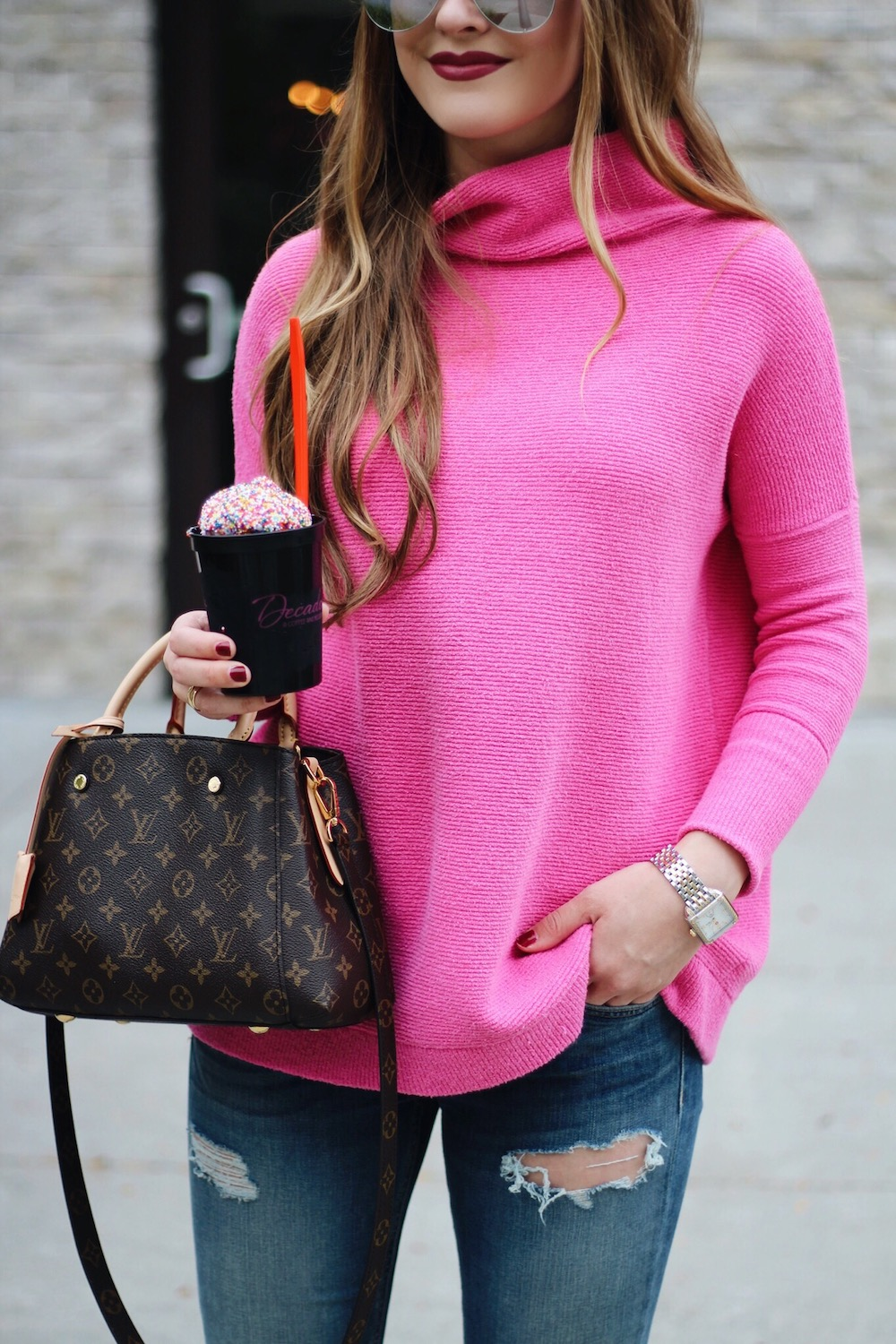 pink free people sweater rachel puccetti