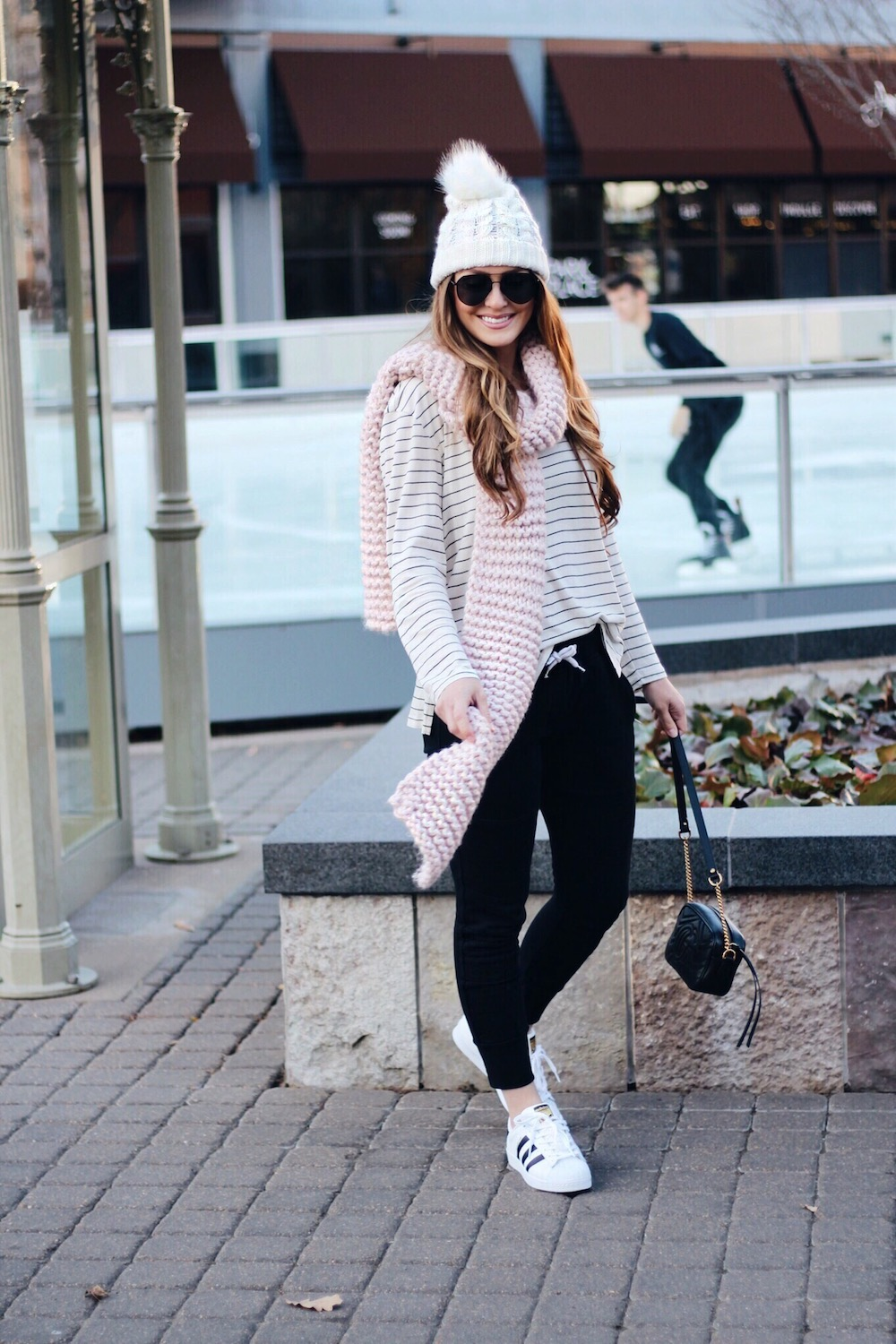 casual winter style joggers rachel puccetti
