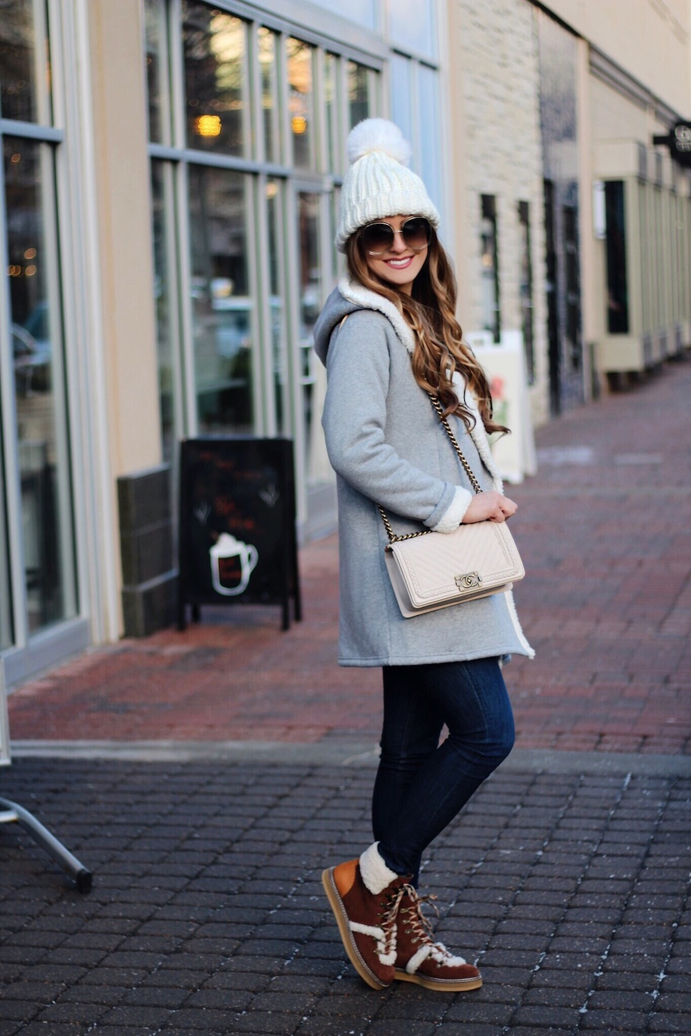 winter outfit inspiration cozy coat rachel puccetti