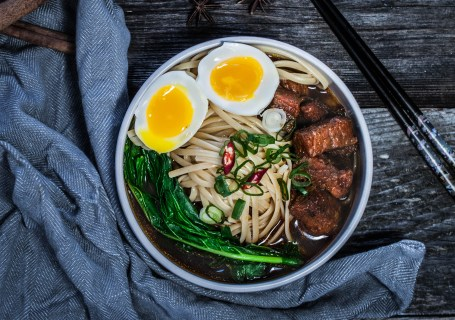 Paleo Sichuan Braised Beef Noodle Soup Overhead