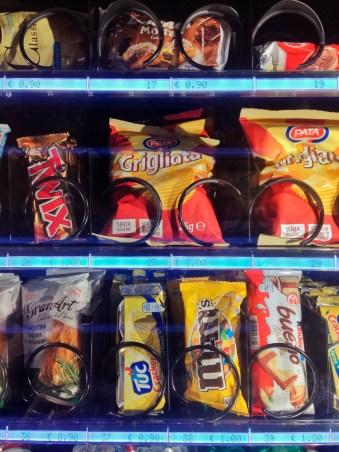 Packaged junk food in vending machine